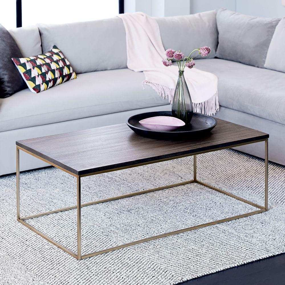 Streamline coffee table umber antique brass west elm for West elm c table