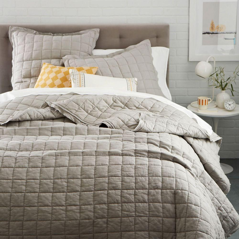 Belgian Flax Linen Quilted Coverlet Pillowcases