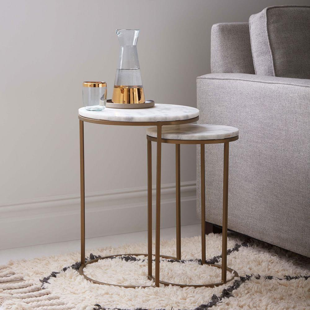Round Nesting Side Tables Set Marble Antique Brass West Elm Au