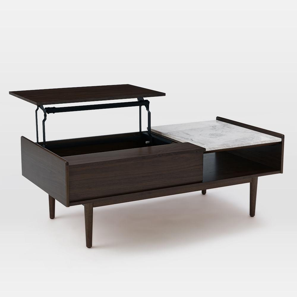 Two block storage coffee table stone two block storage coffee table - Mid Century Pop Up Storage Coffee Table Dark Mineral