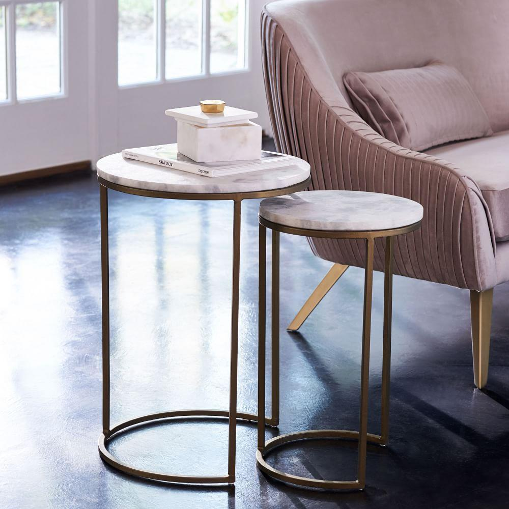 Round Nesting Side Tables Set Marble Antique Brass