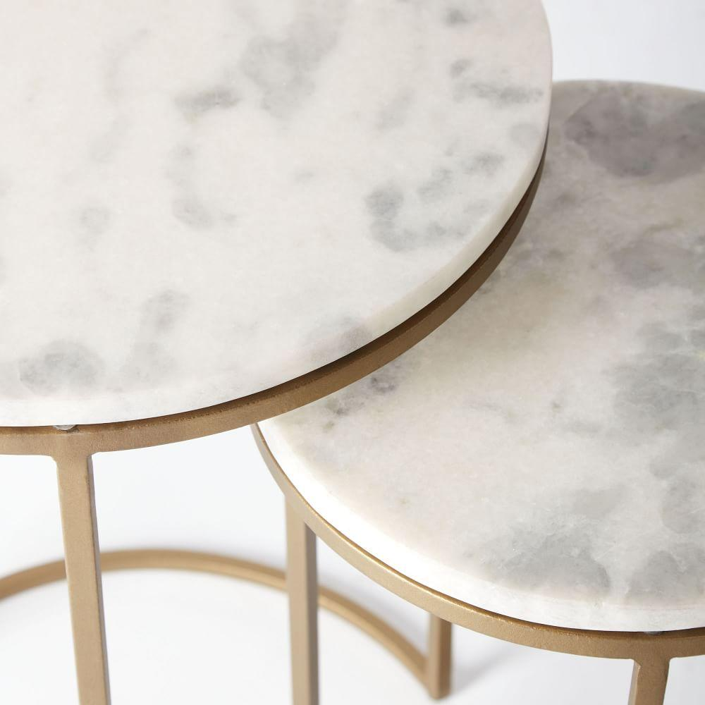 Round nesting side tables set marble antique brass for Side coffee table set