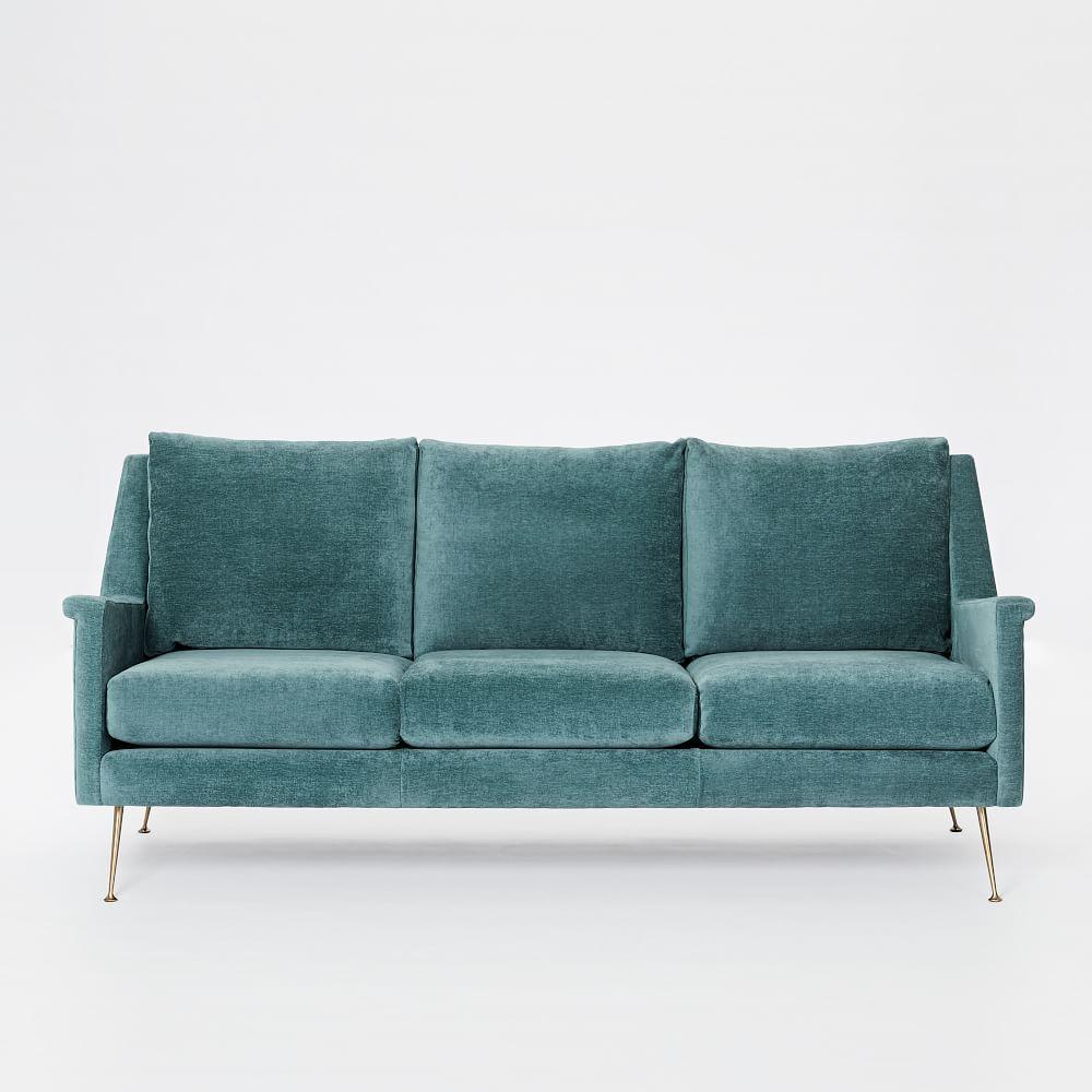 carlo mid century sofa 197 cm dusty teal worn velvet west elm australia. Black Bedroom Furniture Sets. Home Design Ideas
