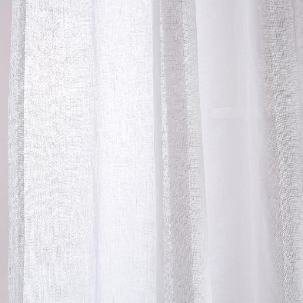 Sheer Belgian Flax Linen Curtain - White