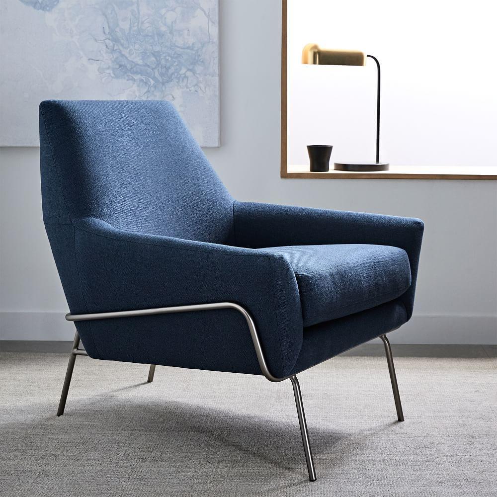 Lucas Wire Base Chair Regal Blue West Elm Australia