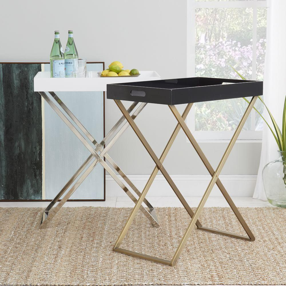 Tall butler tray stand west elm au for Tray side table