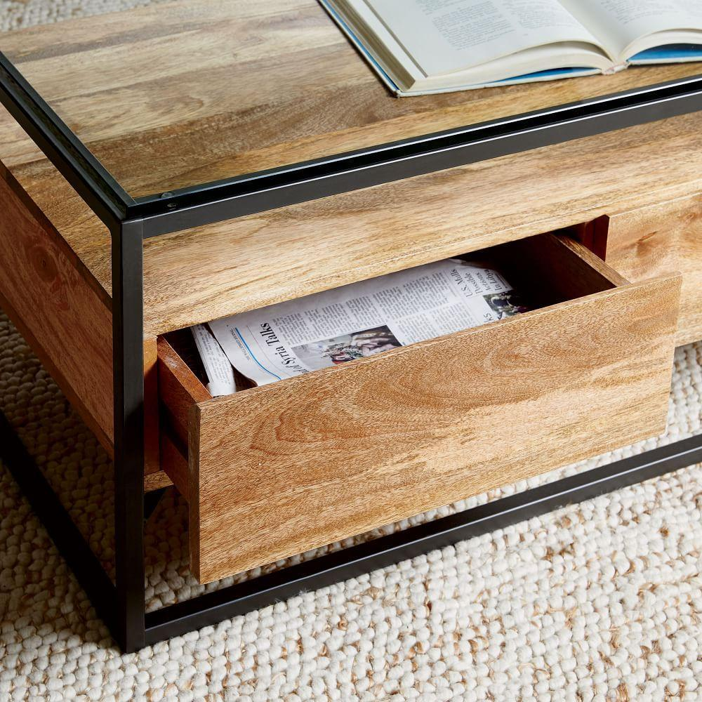 Espresso Coffee Table With Storage: Box Frame Storage Coffee Table