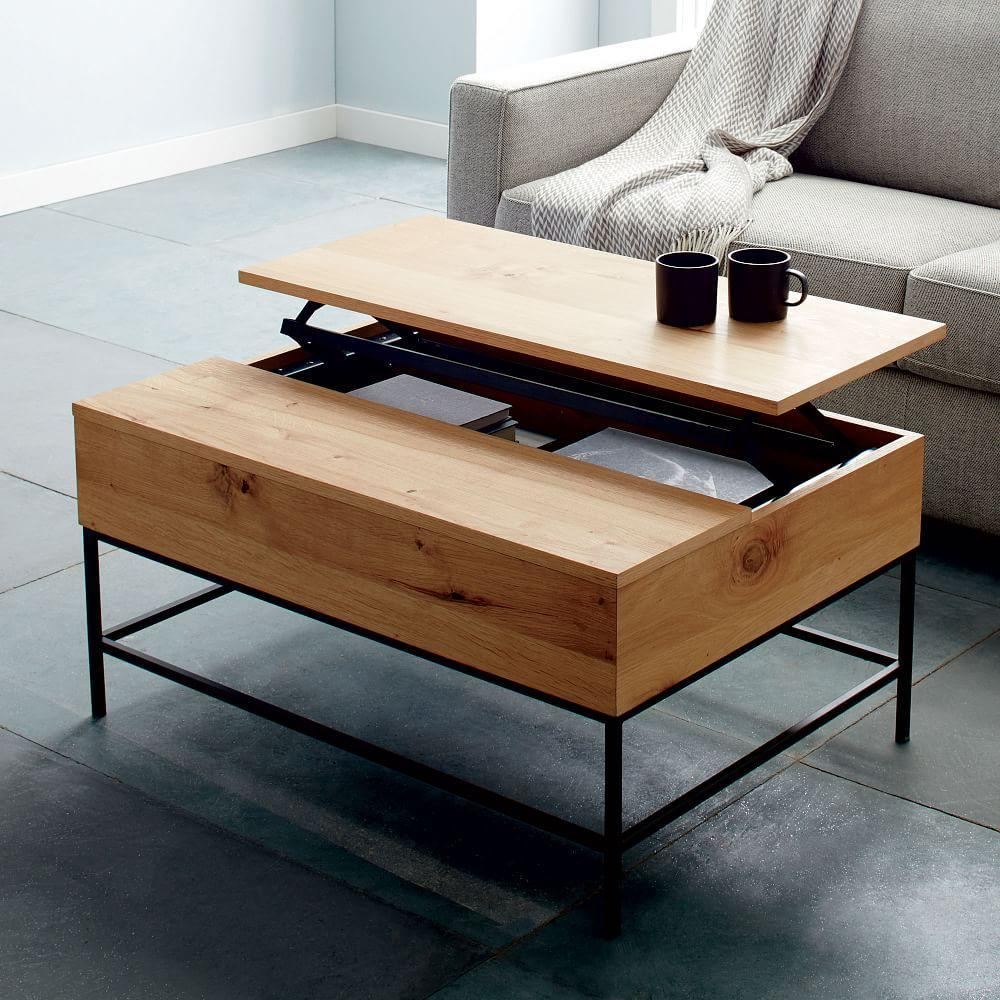 Industrial storage coffee table west elm au Console coffee table