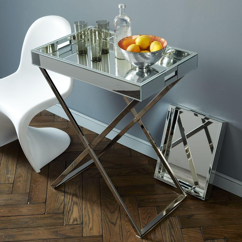 Mirrored Tray For Coffee Table: Tall Butler Tray Stand