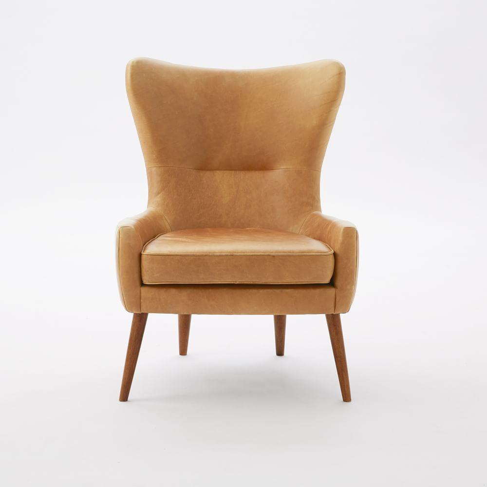 Erik Leather Wing Chair West Elm Au