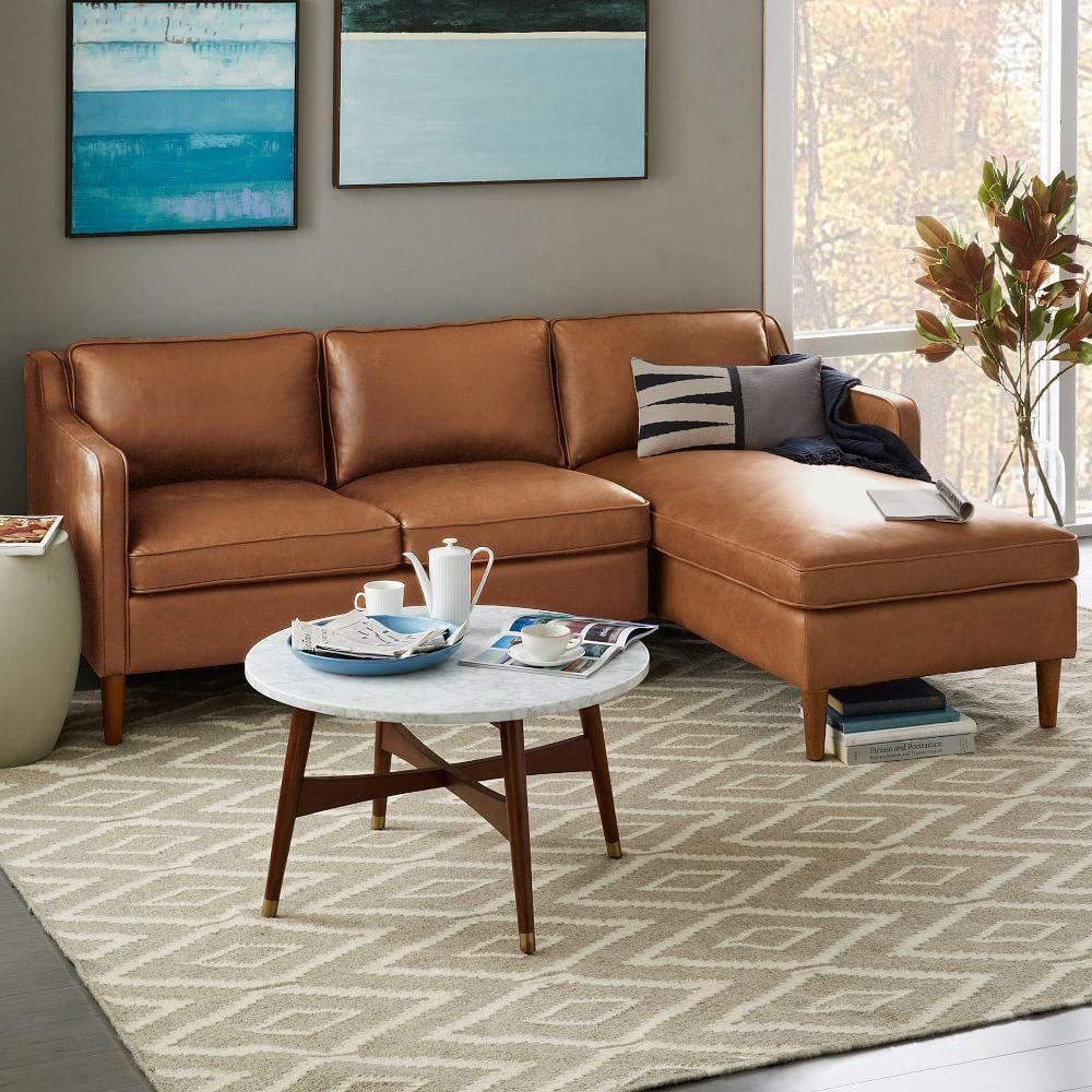 Hamilton 2 Piece Leather Chaise Sectional Burnt Sienna