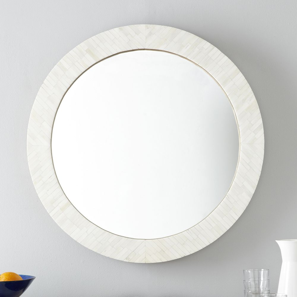Parsons round mirror bone inlay west elm au for Large white mirror
