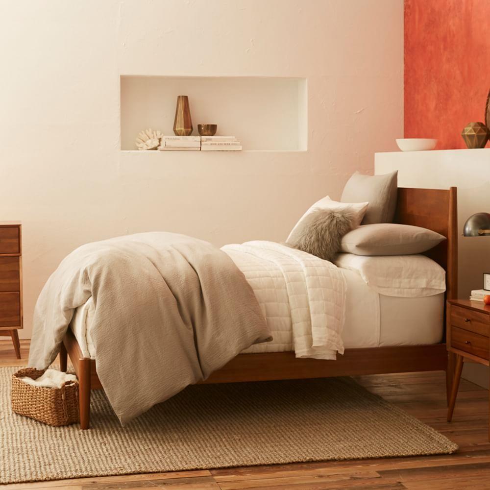 Mid century bed acorn west elm au for Bedroom ideas no bed frame