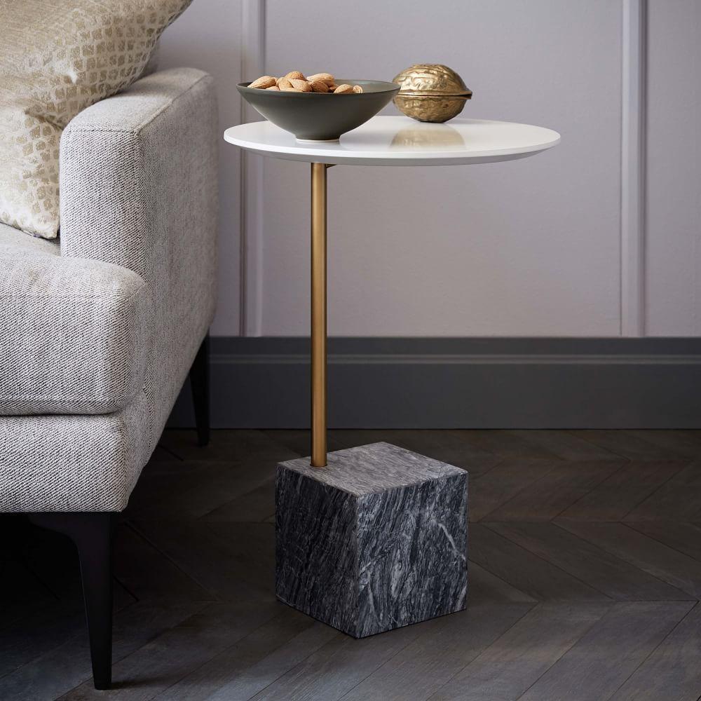 Cube CSide Table WhiteGrey Marble West Elm Australia - Marble cube coffee table