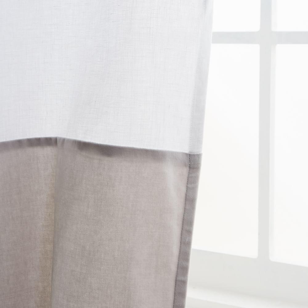 Belgian Flax Linen Velvet Colourblock Curtain - White/Frost