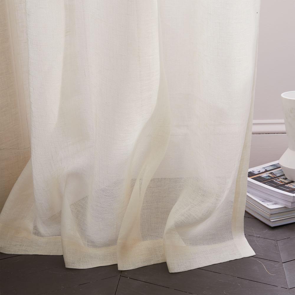Sheer Belgian Flax Linen Curtain Ivory West Elm Australia