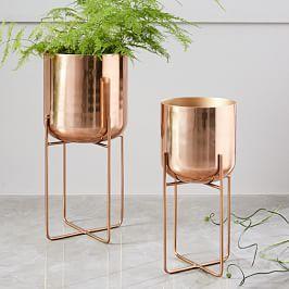 Spun Metal Standing Planter - Copper