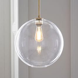 Sculptural Glass Globe Pendant - Clear
