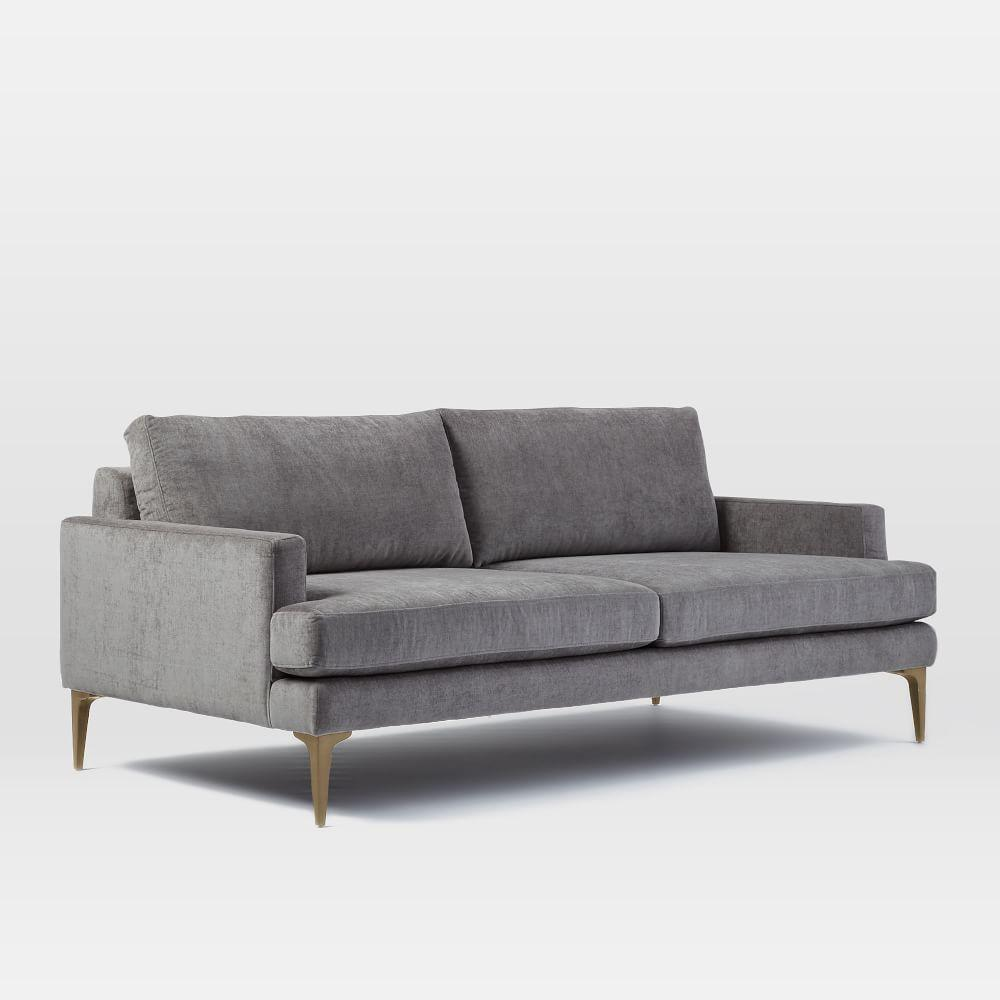 Andes Sofa 194 Cm Metal Distressed Velvet West Elm
