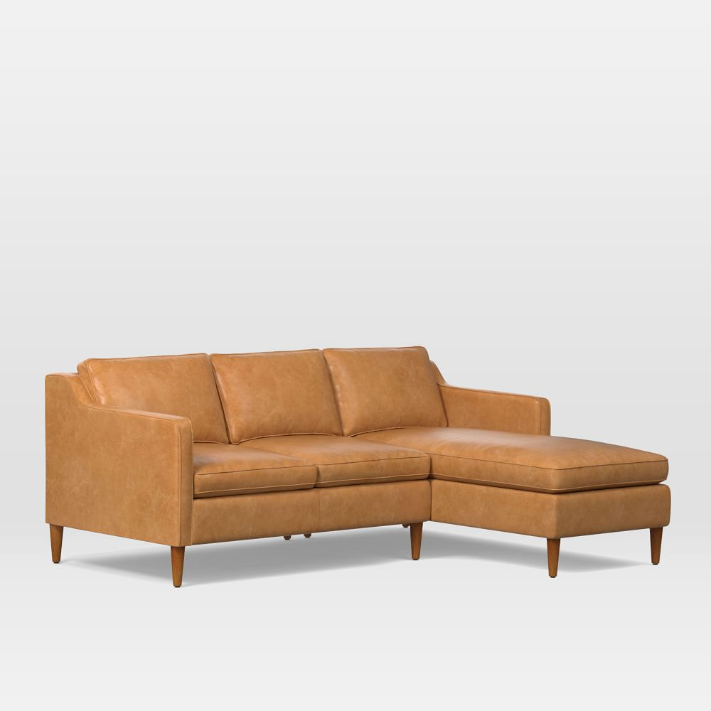 Hamilton 2 piece leather chaise sectional west elm au for Elena leather 2 piece sectional sofa sofa chaise