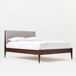 Modern Show Wood Bed - Pumice (Yarn-Dyed Linen Weave)