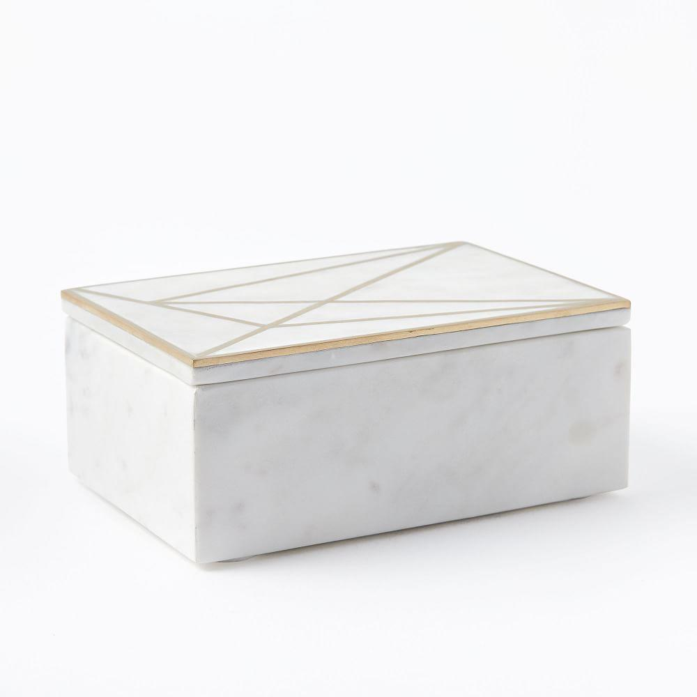 Brass Inlay Marble Box, Rectangle