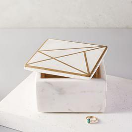 Brass Inlay Marble Box, Square