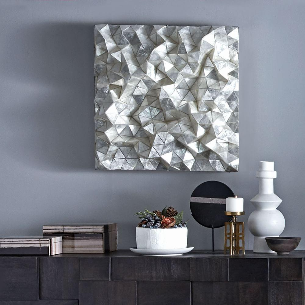 Capiz wall art faceted square