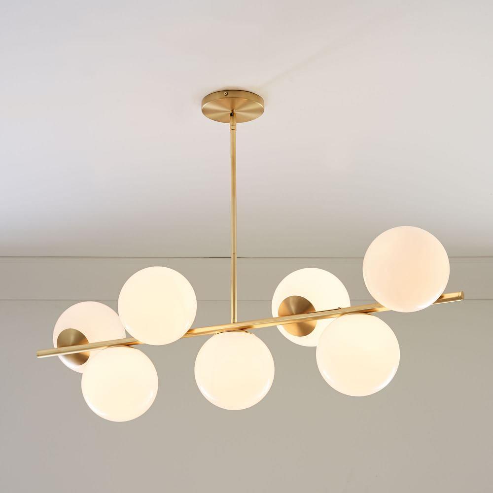Sphere + Stem 7-Light Chandelier - Brass