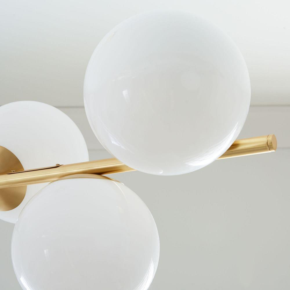 Sphere + Stem 7-Light Chandelier - Brass
