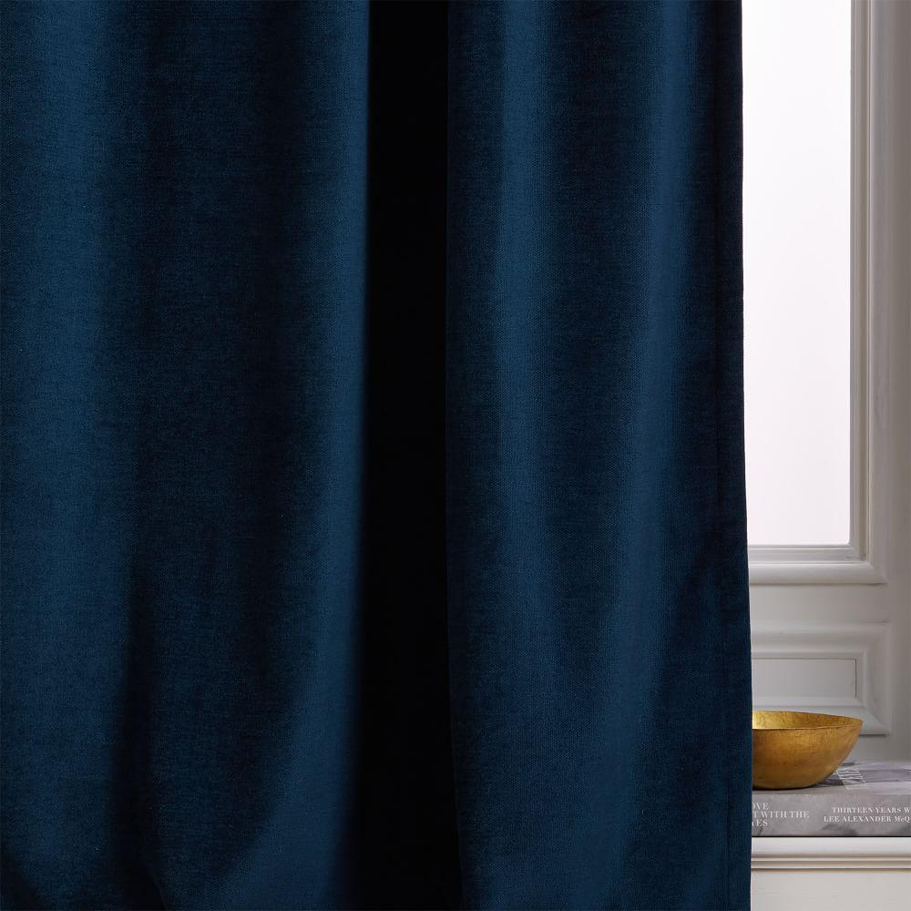Worn Velvet Curtain + Blackout Lining - Regal Blue