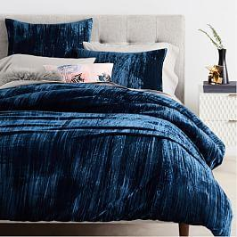 Crinkle Velvet Quilt Cover + Pillowcases - Regal Blue