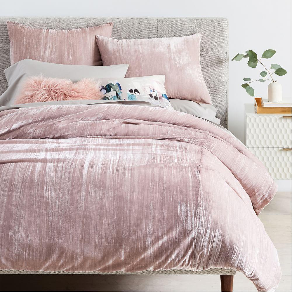 Crinkle Velvet Quilt Cover Pillowcases Dusty Blush