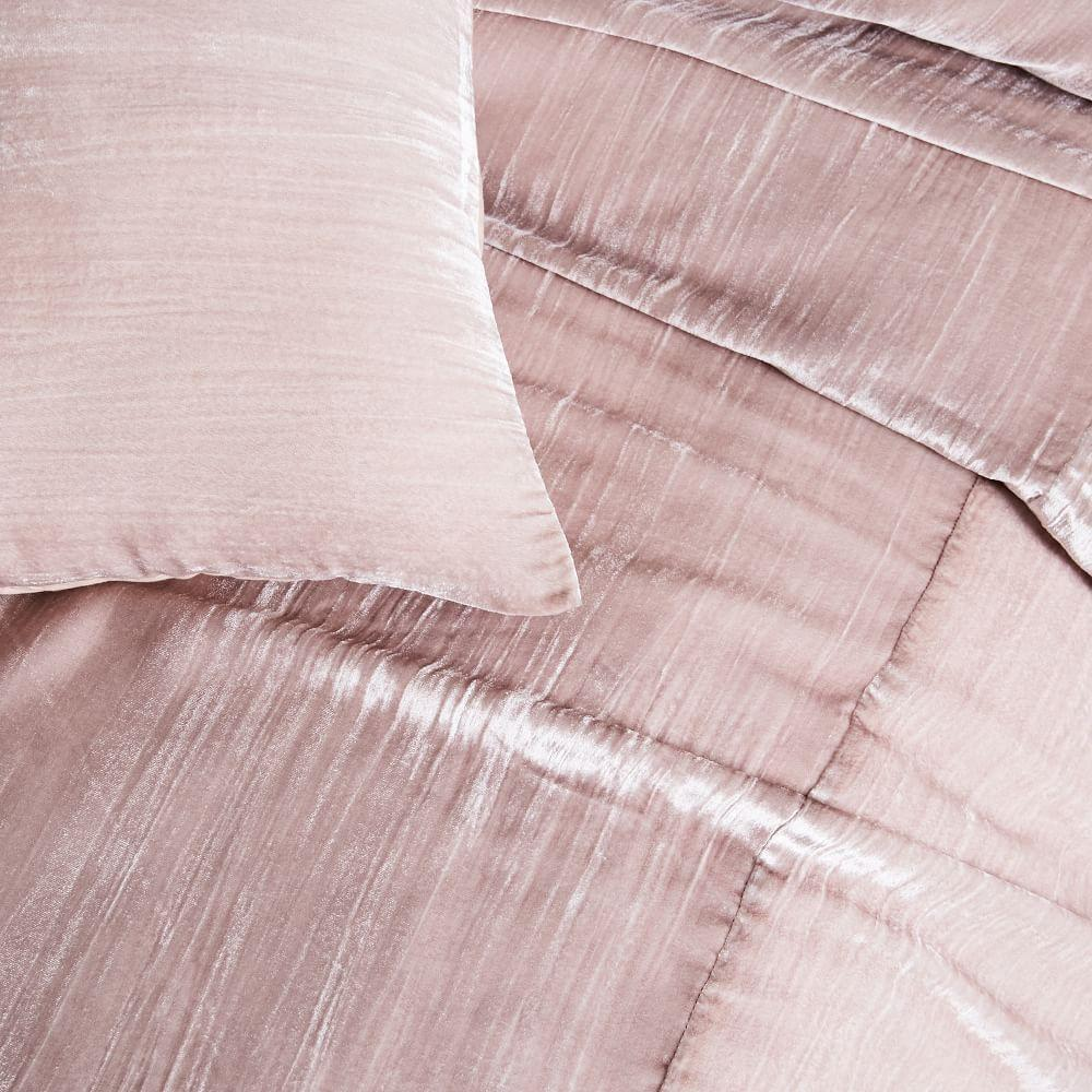 Crinkle Velvet Quilt Cover + Pillowcases - Dusty Blush