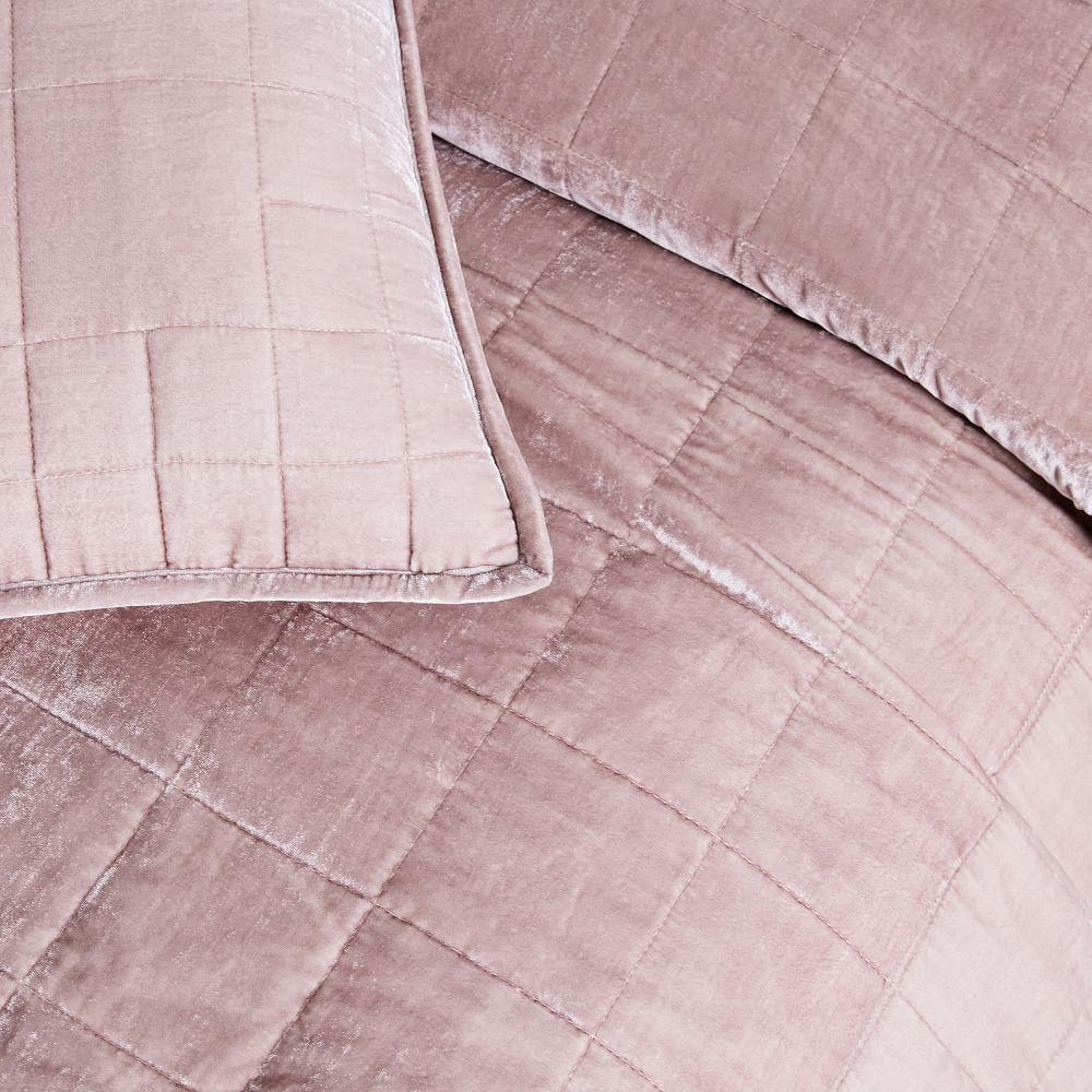 Lush Velvet Coverlet + Pillowcases - Dusty Blush