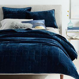 Lush Velvet Coverlet + Pillowcases - Regal Blue