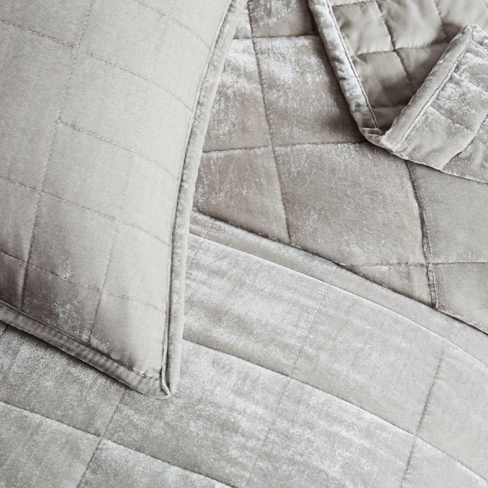 Lush Velvet Coverlet + Pillowcases - Platinum