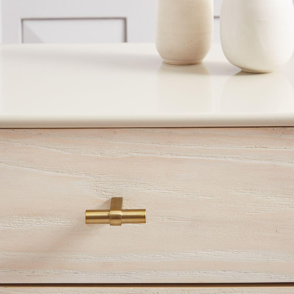 Modernist Wood + Lacquer 3-Drawer Dresser, Winter Wood