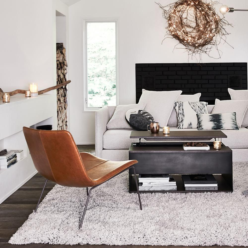 Slope Leather Lounge Chair West Elm Australia