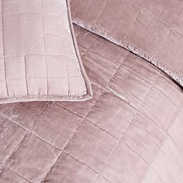 Lush Velvet Coverlet + Pillowcases - Dusty Blush