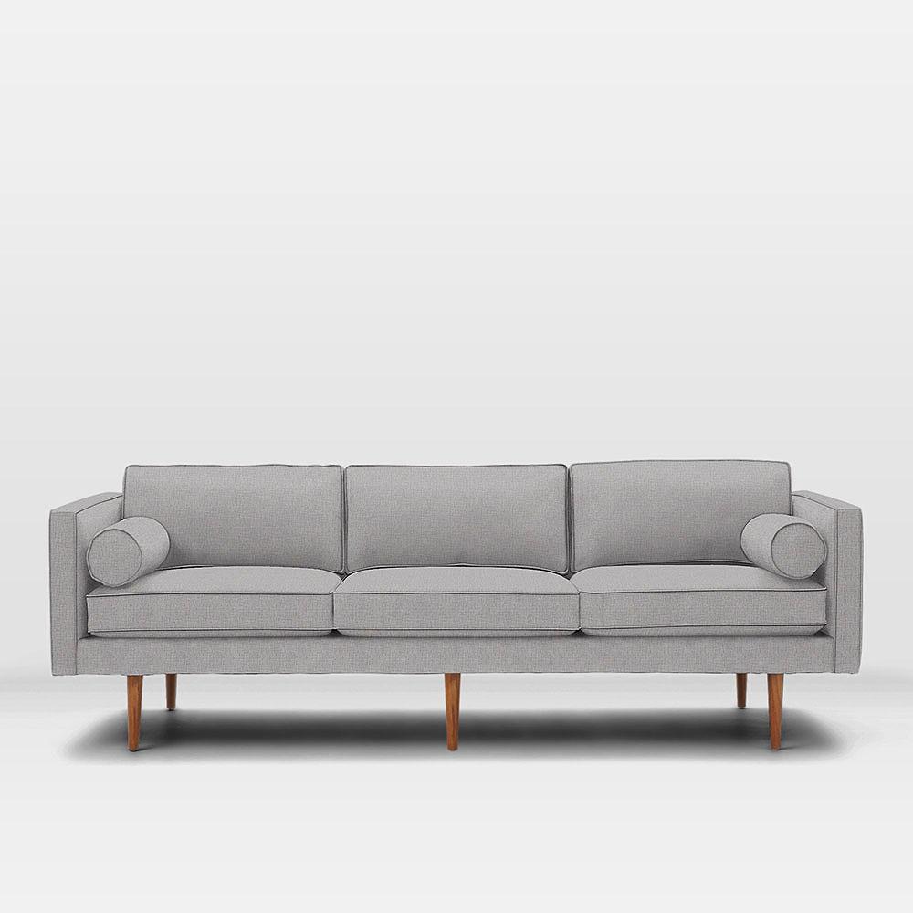 Monroe Mid Century Sofa 218 Cm Feather Grey Heathered