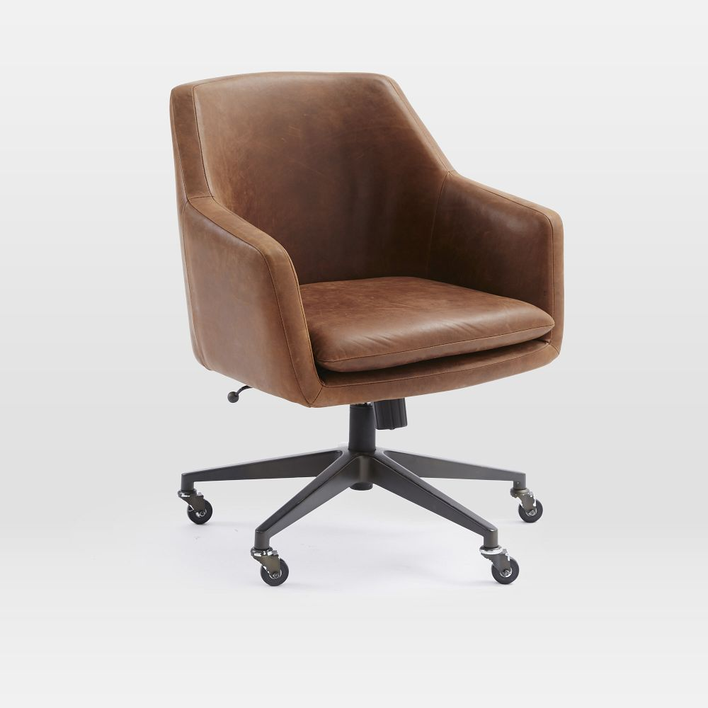 Helvetica leather office chair west elm australia for Modern leather office chairs