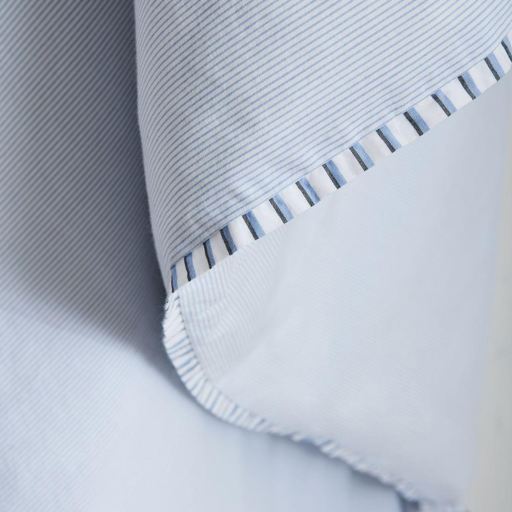 Organic Washed Cotton Stripe Quilt Cover + Pillowcases - Kyoto Blue