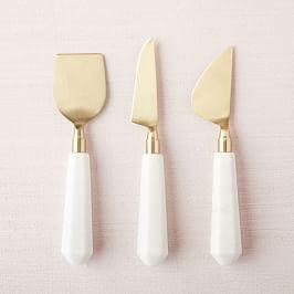Marble + Brass Cheese Knives (Set of 3)