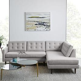 Drake 2-Piece Terminal Chaise Sectional - Platinum (Twill)