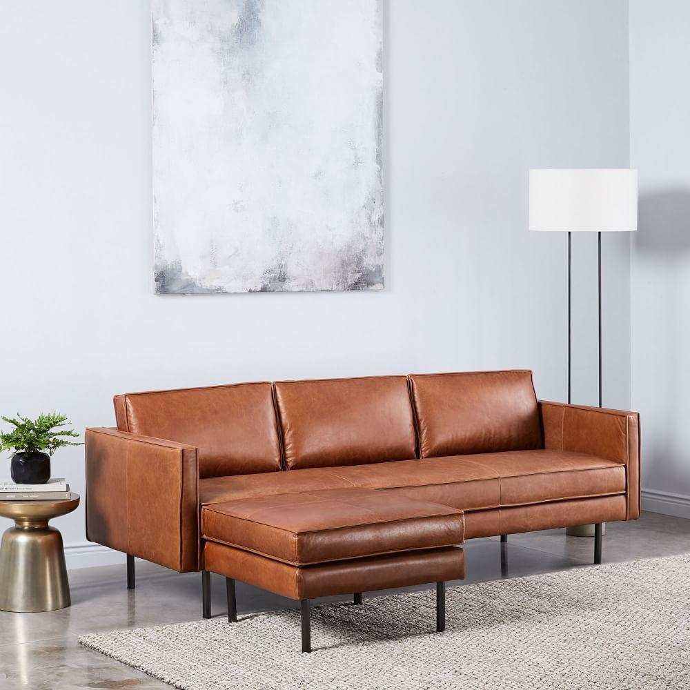 Axel Leather Sofa (226 cm) + Ottoman Set | west elm Australia