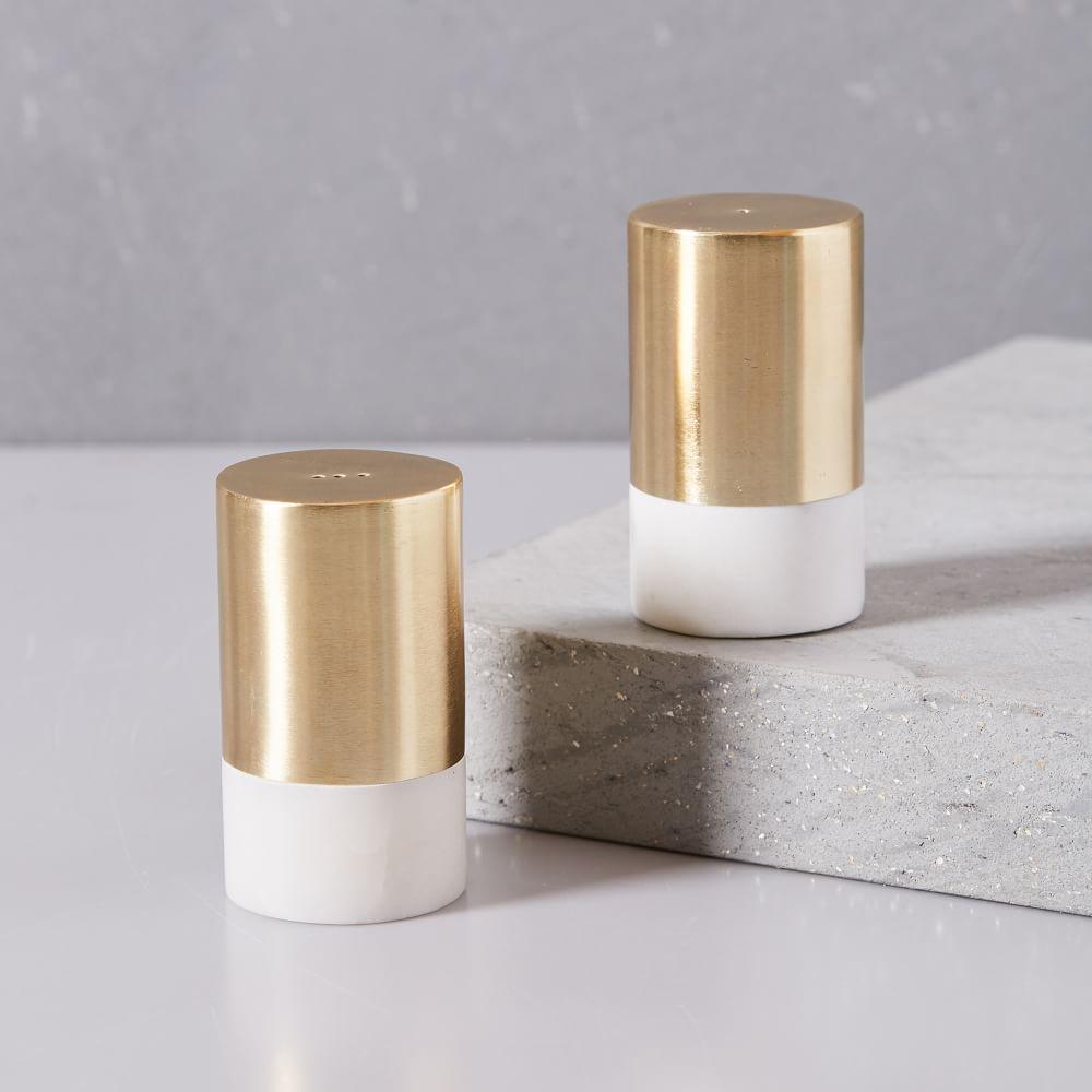 Marble + Brass Salt + Pepper Shaker Set