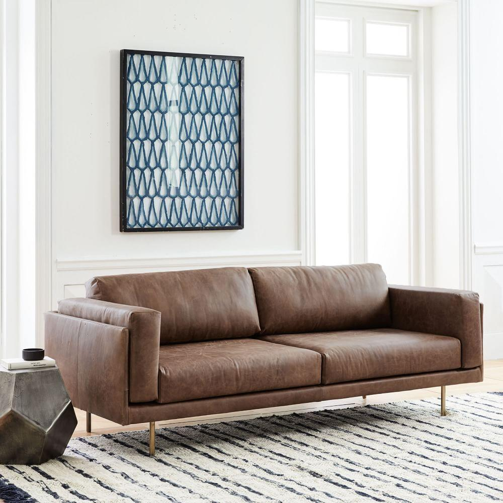 Dempsey Leather Sofa (213 cm) - Chocolate | west elm Australia