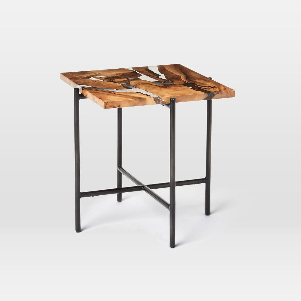 Wood resin square side table west elm australia for West elm c table