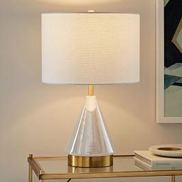 Metalised Glass Table Lamp + USB - Small (Pearl)